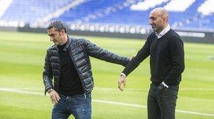 Valverde y Abelardo se despiden de su encuentro matinal en Cornellà-El prat,