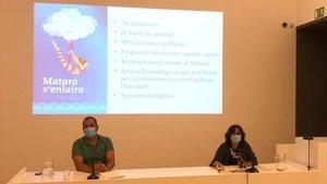 Xesco Gomar, concejalde Cultura, y Maria José Carrasco, adjunta de Cultura, en la presentación del 'Mataró s'enlaira'