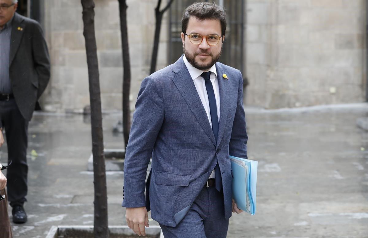 El vicepresident de la Generalitat,Pere Aragonès antes de la reunión del Govern