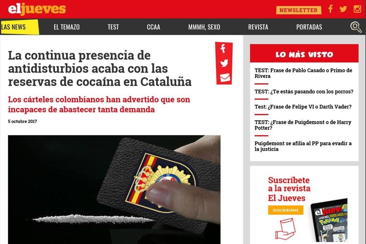 EL JUEVES La continua presencia de antidisturbios acaba con las reservas de cocaina en Cataluna