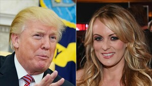 Trump y Stormy Daniels, en un combo de imágenes creado el 24 de febrero del 2018.