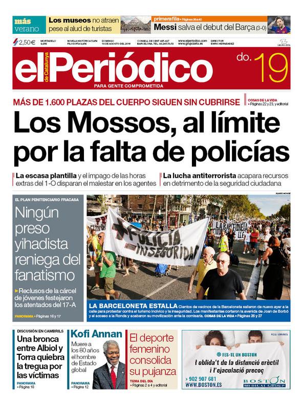 La portada de EL PERIÓDICO del 19 de agosto del 2018