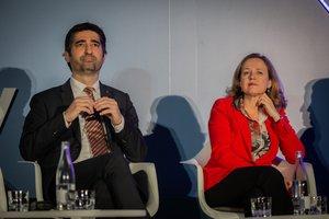 Puigneró y Calviño durante el acto de Digital Future Society Summit.