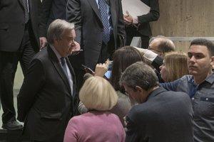 El secretario generalde la ONU António Guterres en la sede del organismoen Nueva YorkEEUU.EFE Mark Garten