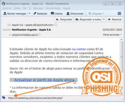 Aspecto del correo fraudulento (phishing) que pueden recibir los usuarios de Apple.