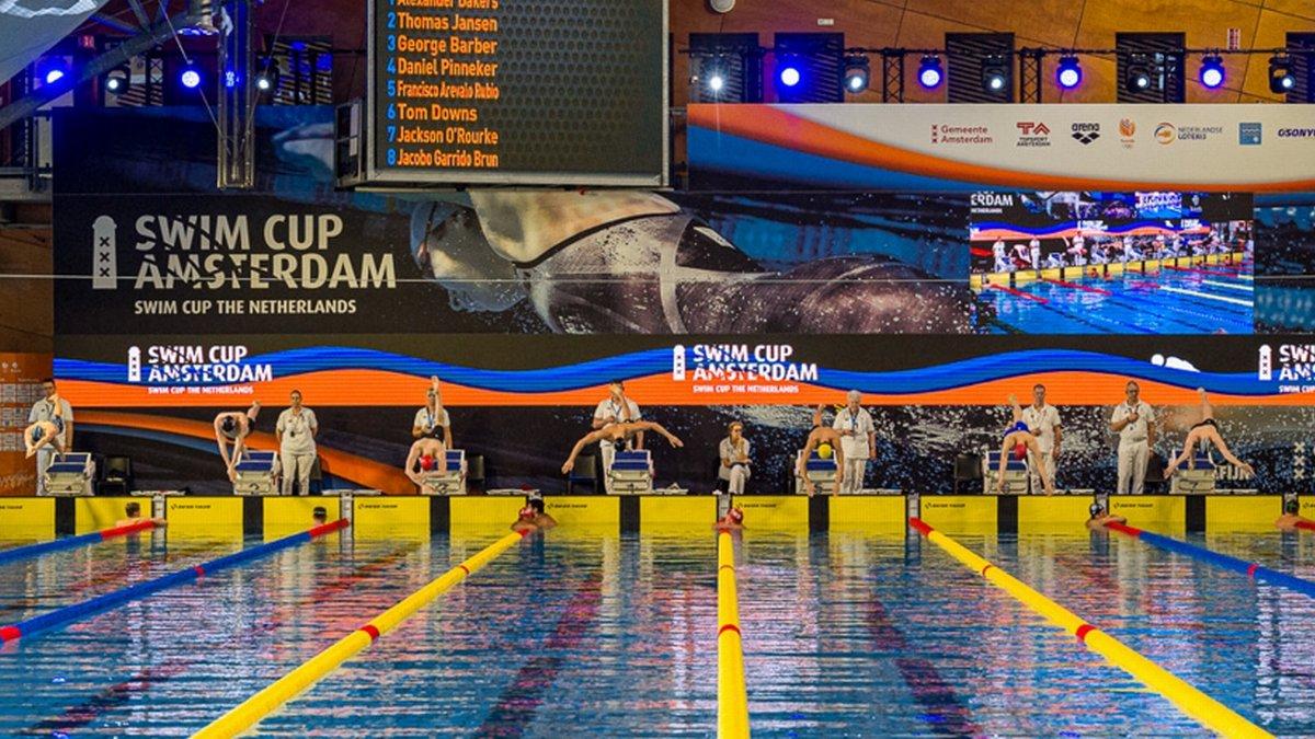 Aspecto general de la piscina en la Amsterdam Swim Cup.