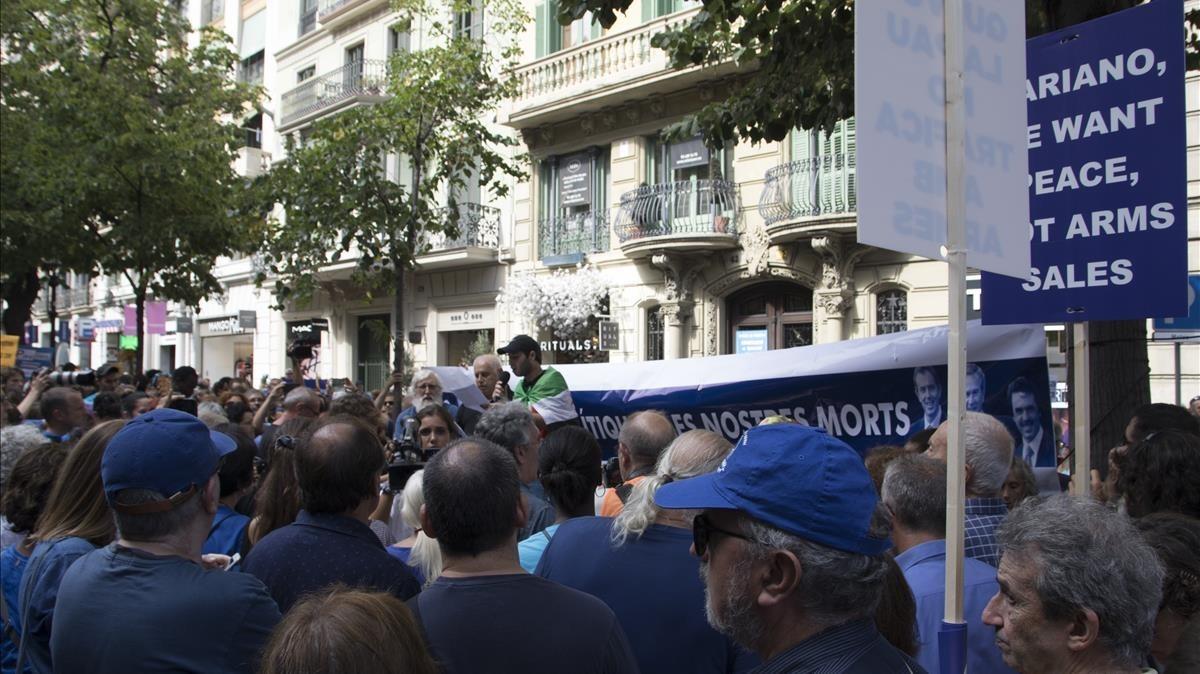 Aspecto de la manifestación de Barcelona.