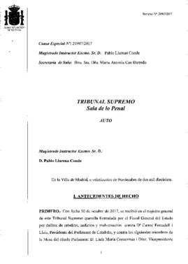 Auto del magistrado Pablo Llanera en el que acuerda que el Tribunal Supremo asuma la causa por rebelión contra el Govern.