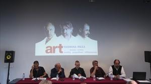 De izquierda a derecha, Villanueva, Orella, Górriz, Arquillué y Pou, en la presentación de Art en el Macba.