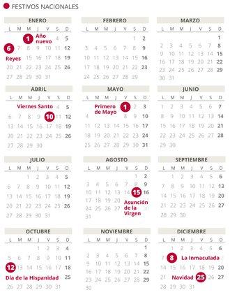 Calendario laboral de España del 2020.