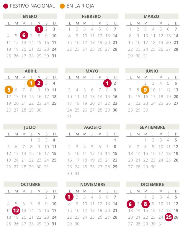 Calendario laboral de La Rioja del 2021.