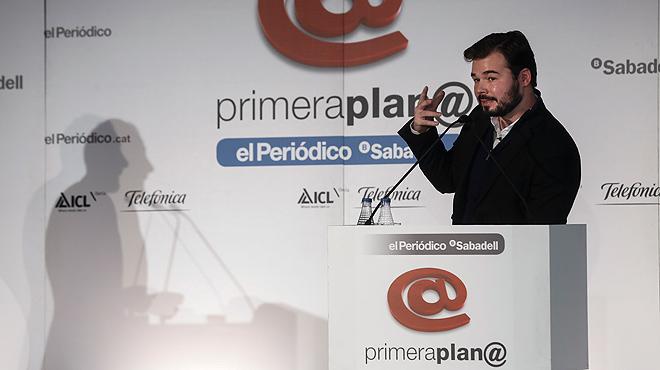 Gabriel Rufián, candidato de ERC a las elecciones del 20 de diciembre, es el protagonista de los Debates Primera Plana del 16 de diciembre.
