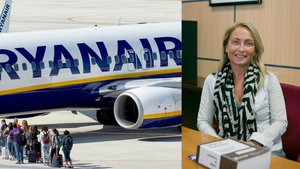 A la derecha, la catedrática de Derecho Mercantil de la Universitat Jaume I de Castellón, Mª Victoria Petit Lavall. Al lado, pasajeros suben a un avión de Ryanair.