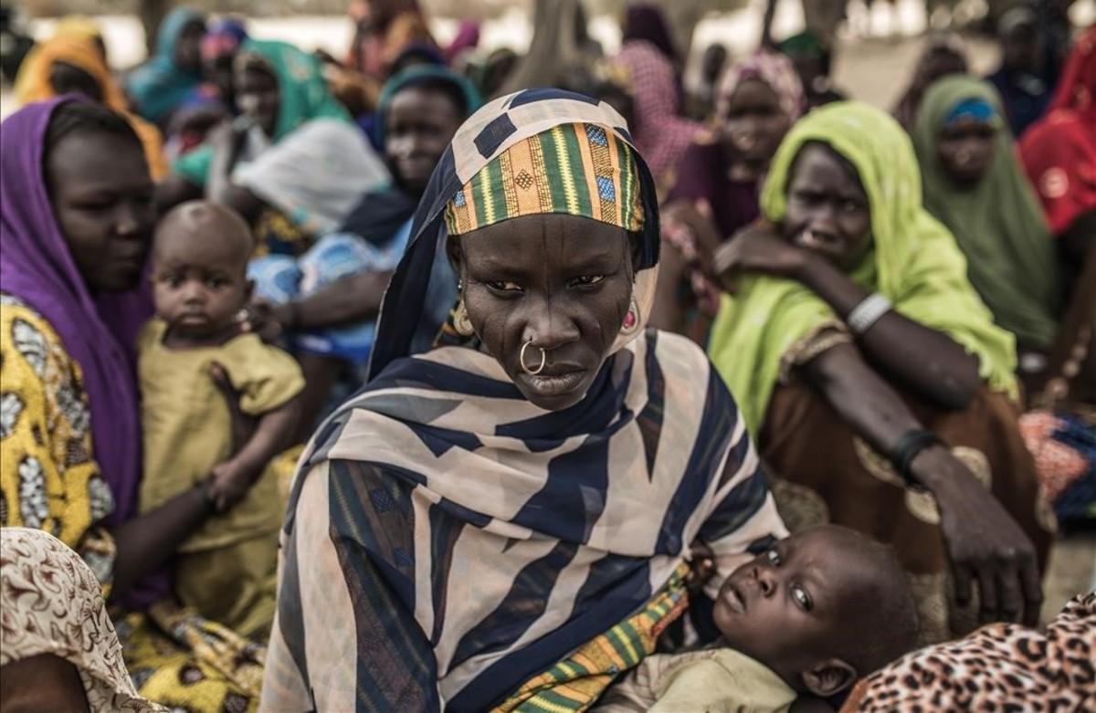 Desplazados de la región del Lago Chad por la violencia de Boko Haram.