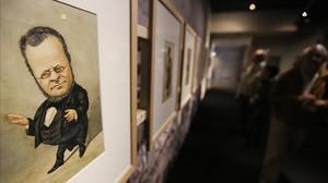 Detalle de la exposición Caricatures de la Barcelona vuitcentista, con obras firmadas por Josep Parera donadas al Museu Marès.