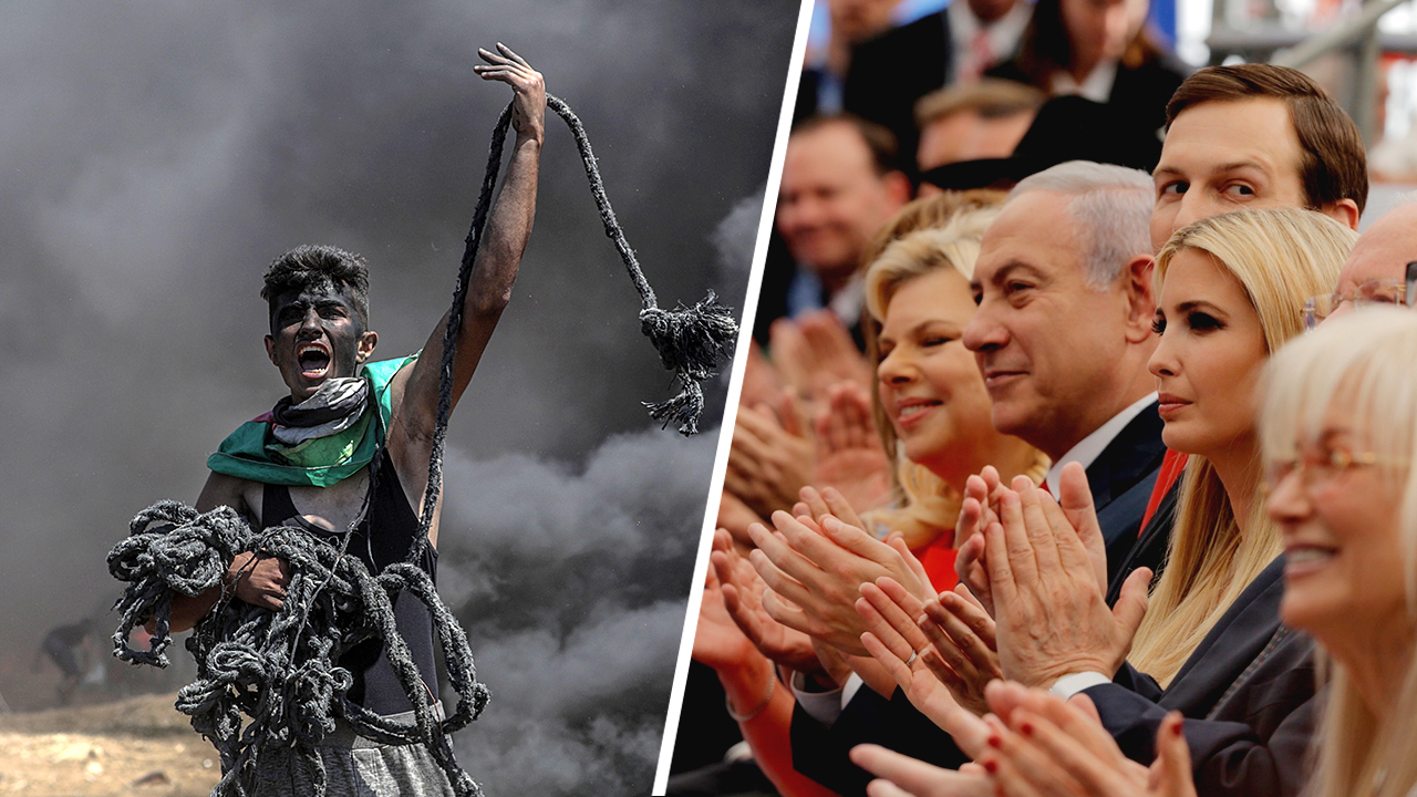65 km, dos realidades: 60 personas mueren en Gaza mientras EEUU celebra el traslado de su embajada a Jerusalén.
