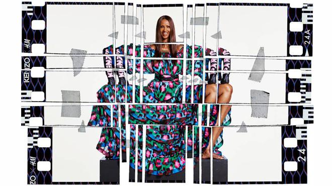 Iman, embajadora de la campaña publicitaria de Kenzo y H&M.