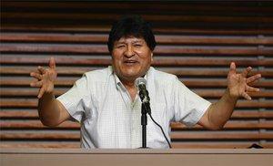 Evo Morales en conferencia de prensa desde Argentina.