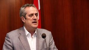 El concejal de CiU JoaquimForn, este jueves en el ayuntamiento.