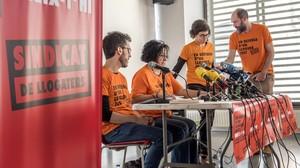 Rueda de prensa en la que se presentóel nuevo Sindicat de Llogaters, a principios de mayo.