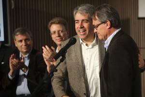 Francesc Homs y Artur Mas, en el acto de la candidatura Democràcia i Llibertat, en Barcelona.