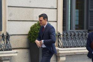 Pedro Sánchez, a su llegada al Congreso de los Diputados este miércoles.