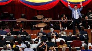 Guaidó, durante un mitin con estudiantes en Caracas, este viernes.
