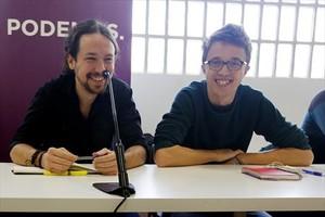 Pablo Iglesias e Íñigo Errejónen una reunión del Consejo Ciudadano de Podemos.