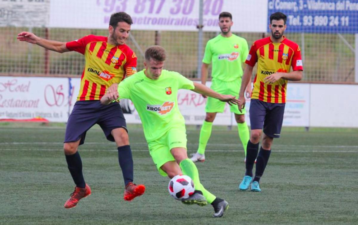 Imagen del encuentro entre el FC Vilafranca y el FC Santboià del pasado sábado