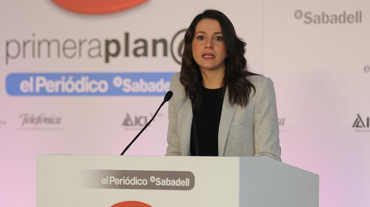 Inés Arrimadas, en el desayuno Primera Plana de EL PERIÓDICO.