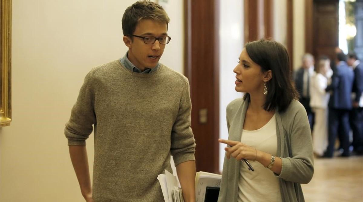 Íñigo Errejón e Irene Montero, este miércoles, después de la Junta de Portavoces del Congreso.