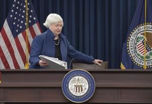 Janet Yellen, presidenta de la Reserva Federal, en una rueda de prensa, en Washington.