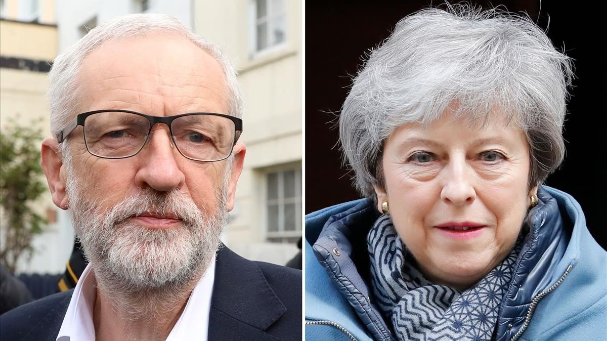 Jeremy Corbyn y Theresa May.