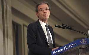 Jordi Gual, presidente de CaixaBank, esta mañana en el Foro Nueva Economía.