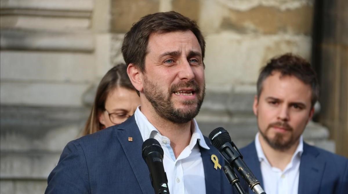 El exconseller Toni Comín, en un acto en Bruselas el pasado 23 de junio