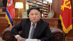 Kim Jong-un, antes del discurso de Año Nuevo del 2019.