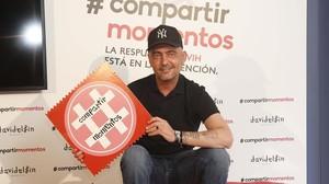 David Delfín, en la presentación, el año pasado, de la campaña Compartir Momentos, para la prevención del VIH,en la que hizo el logo.