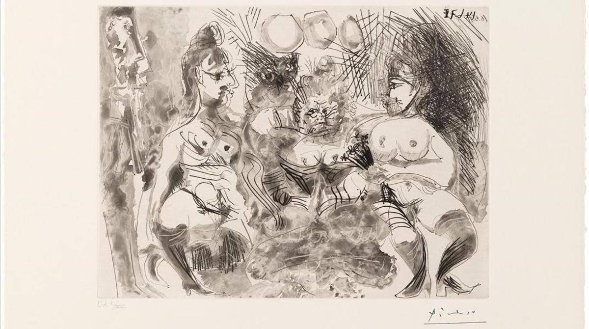 Maison Tellier. La fiesta de la madame. Búho. Degas apoyado en la pared, uno de los grabados de Picasso, de 1971, expuesto en el museo barcelonés del artista malagueño.