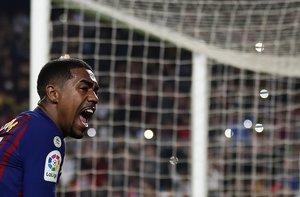 Malcom celebra el gol marcado a la Cultural Leonesa.