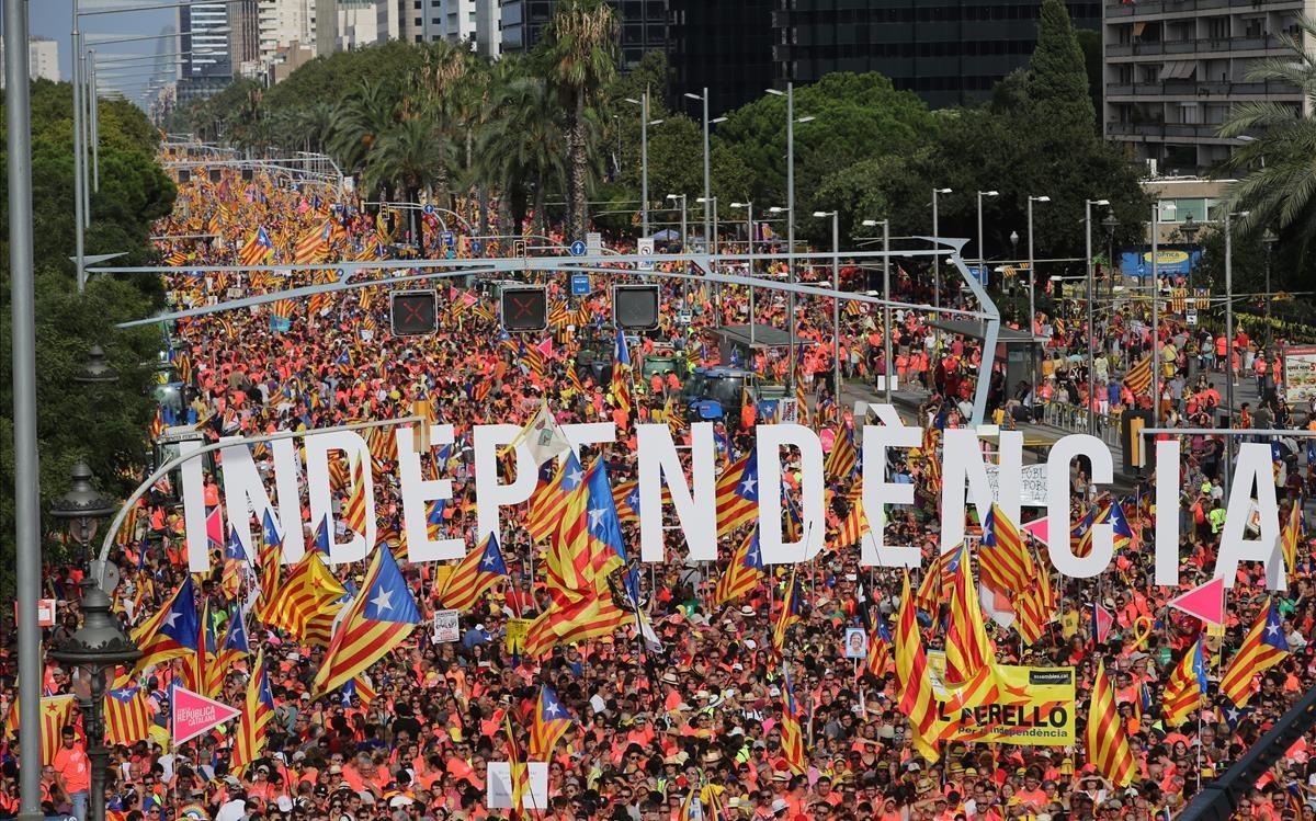 La manifestación, cerca del Palau de Pedralbes