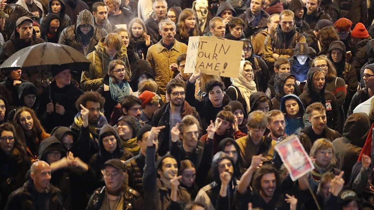 Manifestación contra Alternativa por Alemania en la noche electoral, en Berlín.