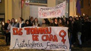 Manifestación feminista en Manresa, este domingo.