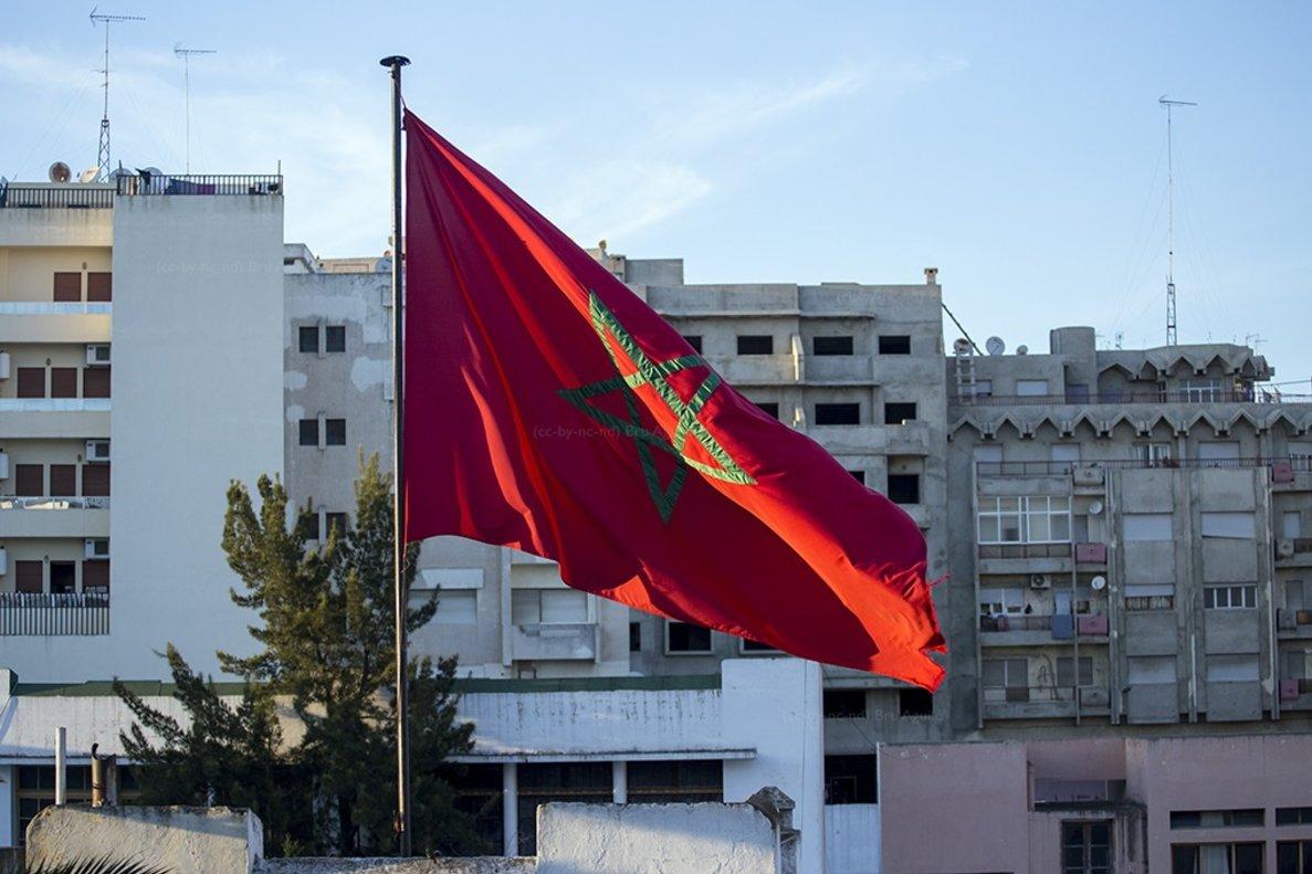 Imagen de la bandera de Marruecos.