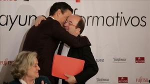 Miquel Iceta y Pedro Sanchezen losdesayunos informativos de Europa Press