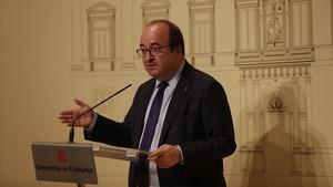 Miquel Iceta, en una rueda de prensa en el Palau de la Generalitat.