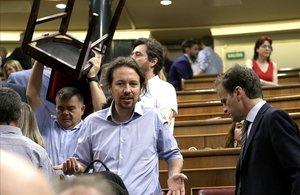 Pablo Iglesias, en el segundo día del debate de investidura de Pedro Sánchez.