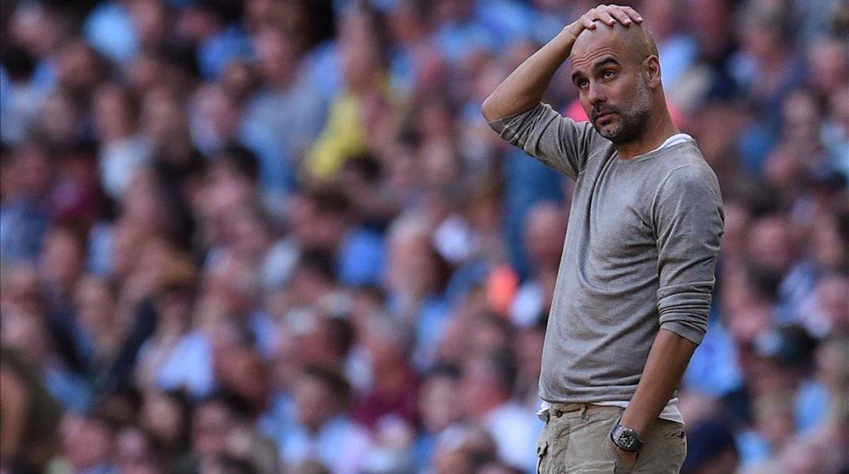 Pep Guardiola, durante la goleada al Watford, la mayor de la historia del Manchester City.
