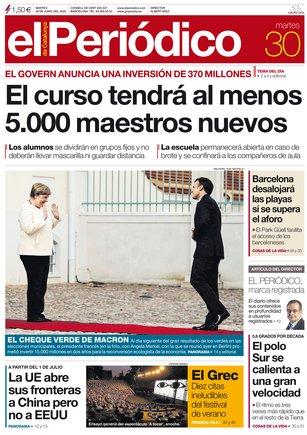 La portada de EL PERIÓDICO del 30 de junio.
