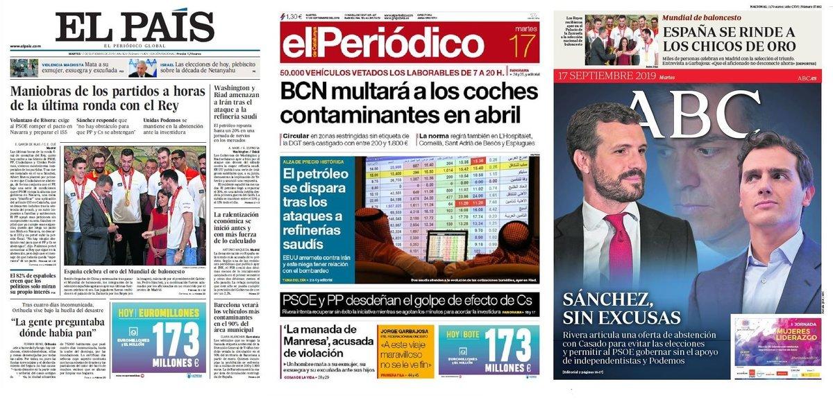 Prensa de hoy: Las portadas de los periódicos del martes 17 de septiembre del 2019