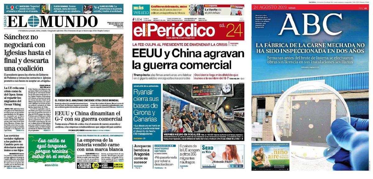 Prensa de hoy: Las portadas de los periódicos del sábado 24 de agosto del 2019